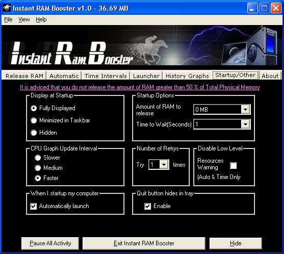 Click to view Instant RAM Booster 1.05 screenshot